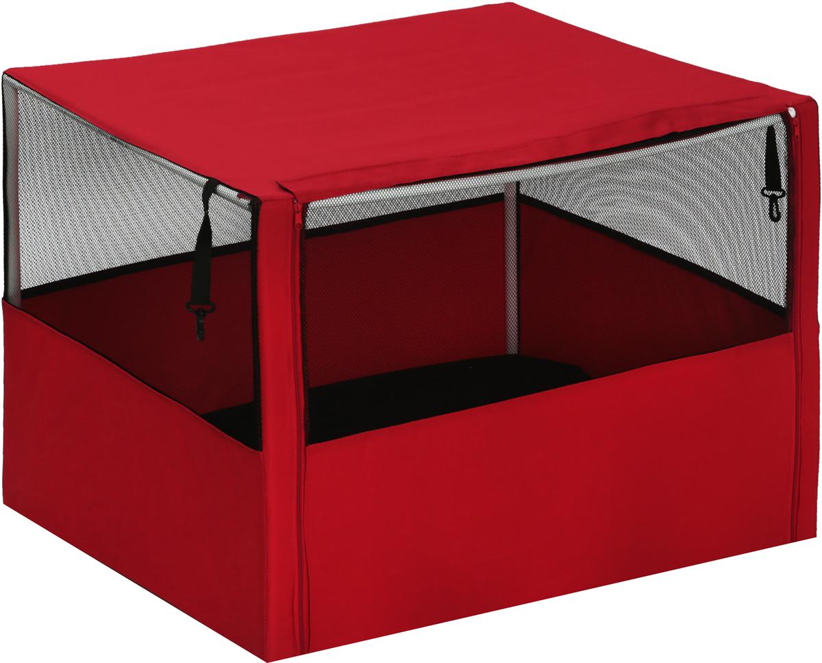 Клетка-вольер  Заря-Плюс , разборная, цвет: красный, черный, 90 х 70 х 70 см. КВС1