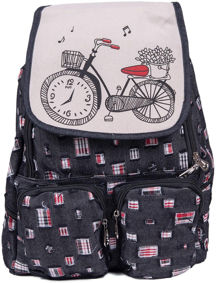 Рюкзак женский Nuages, цвет: черный, белый. NR6204/3blackNR6204/3blackТекстильный рюкзак. Основное отделение на молнии, 2 кармана на молнии сзади, 2 боковых кармана на молнии, клапан на липучке.