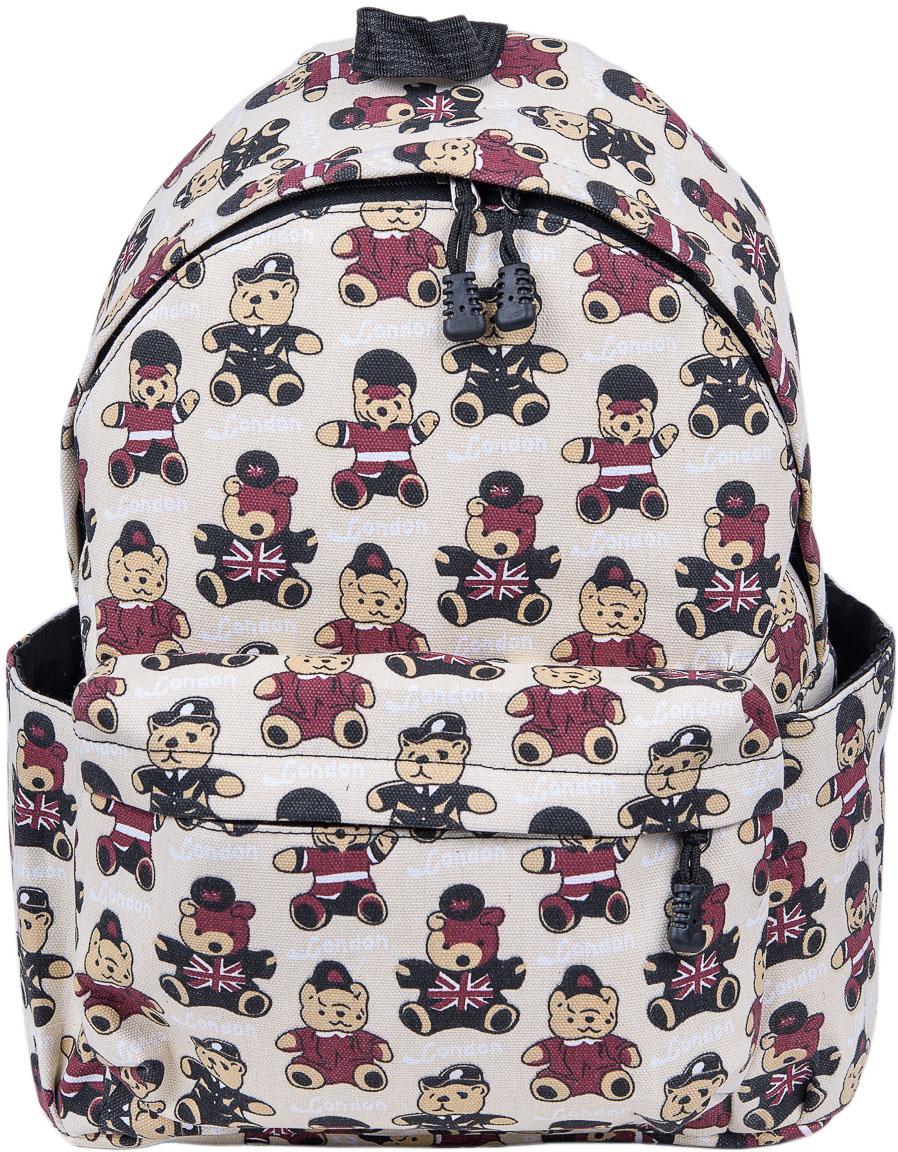 Рюкзак женский Nuages, цвет: белый. NR7105-5NR7105-5Текстильный рюкзак. Основное отделение на молнии, 1 карман на молнии сзади, 2 боковых кармана