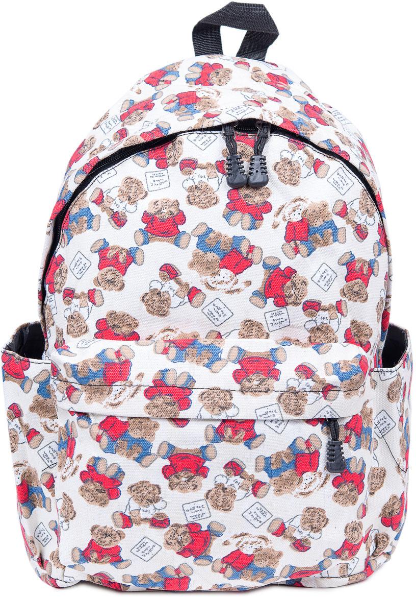 Рюкзак женский Nuages, цвет: белый. NR7105-8NR7105-8Текстильный рюкзак. Основное отделение на молнии, 1 карман на молнии сзади, 2 боковых кармана