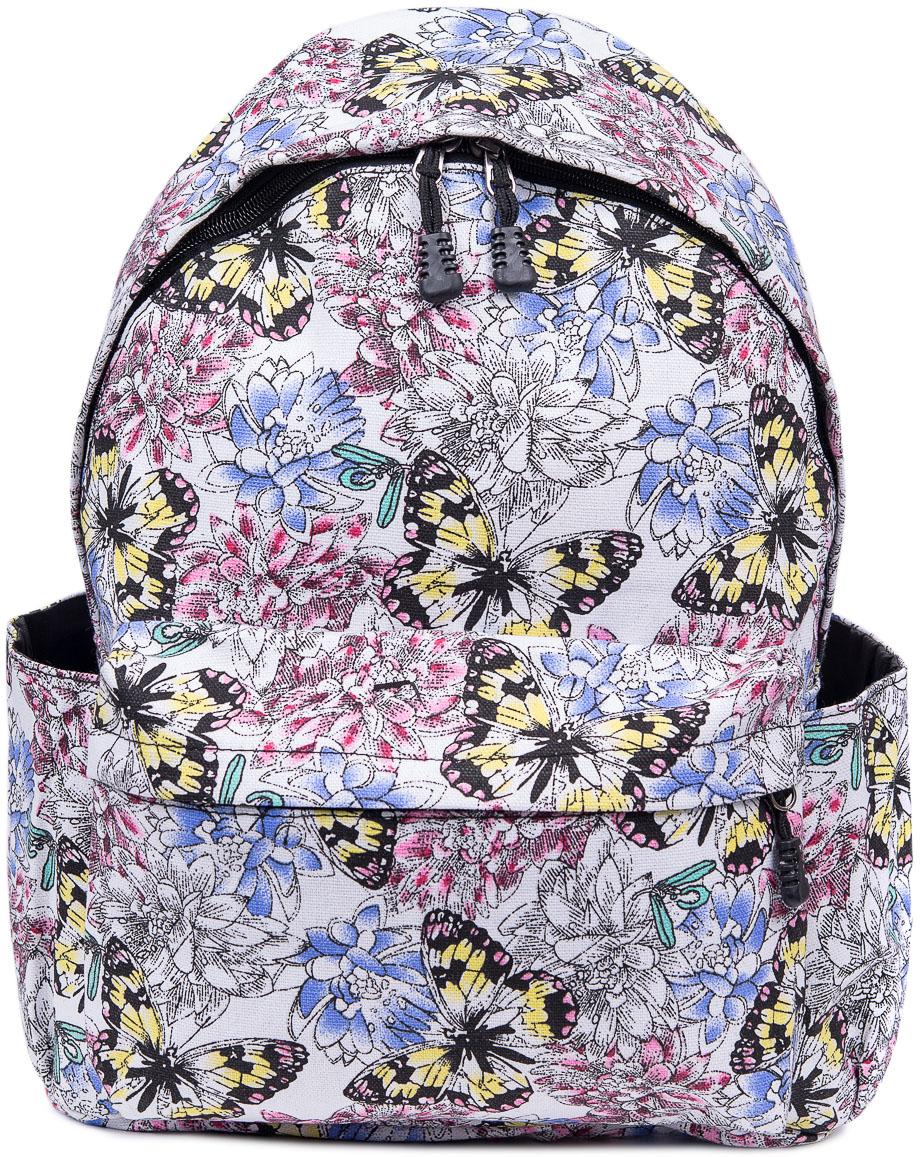 Рюкзак женский Nuages, цвет: белый. NR7105-10NR7105-10Текстильный рюкзак. Основное отделение на молнии, 1 карман на молнии сзади, 2 боковых кармана