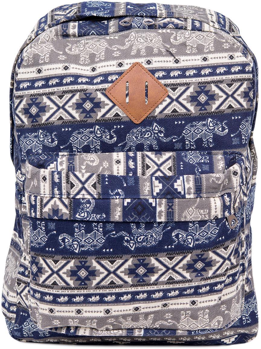 Рюкзак женский Nuages, цвет: синий, белый. NR7106/1NR7106/1Текстильный рюкзак. Основное отделение на молнии, 1 карман на молнии сзади, 2 боковых кармана, карман на молнии на спинке.