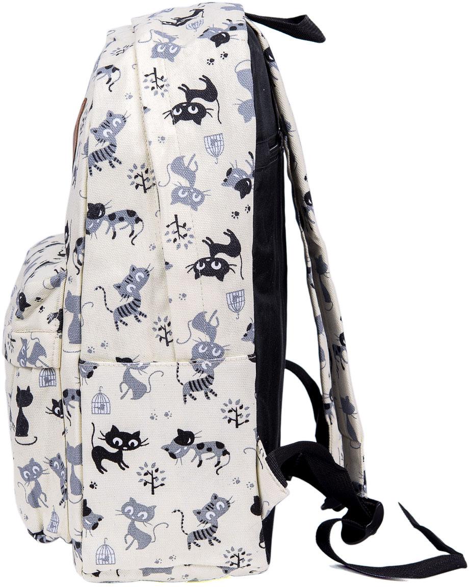 Рюкзак женский Nuages, цвет: бежевый. NR7107/1 beigeNR7107/1 beigeТекстильный рюкзак. Основное отделение на молнии, 1 карман на молнии сзади, 2 боковых кармана.