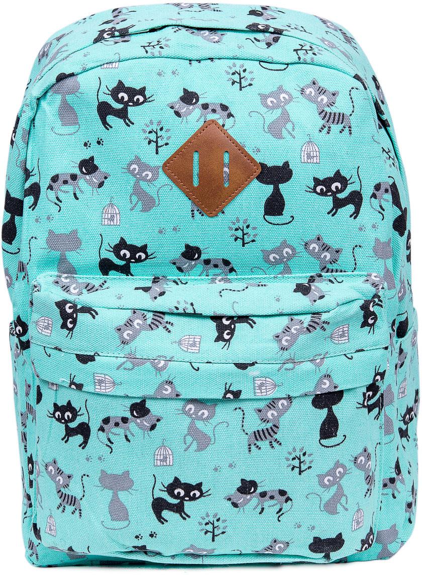 Рюкзак женский Nuages, цвет: зеленый. NR7107/3 greenNR7107/3 greenТекстильный рюкзак. Основное отделение на молнии, 1 карман на молнии сзади, 2 боковых кармана.
