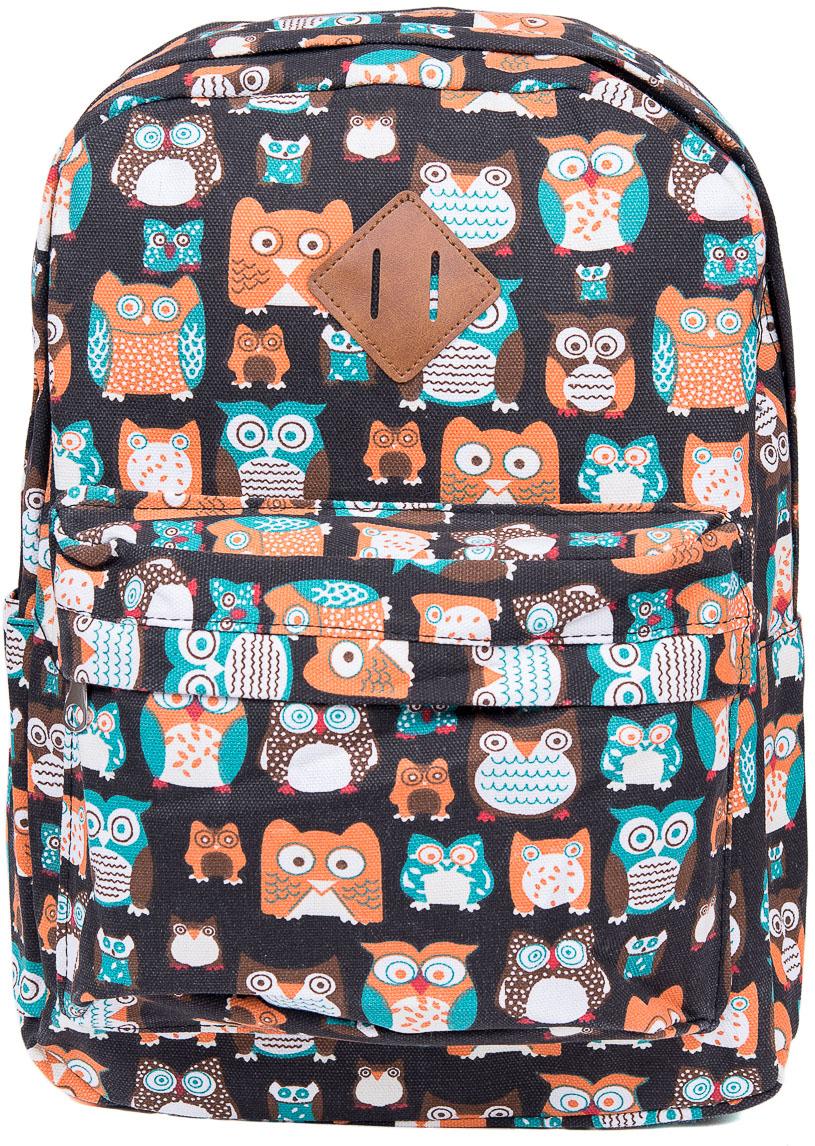 Рюкзак женский Nuages, цвет: черный. NR7108/2 blackNR7108/2 blackТекстильный рюкзак. Основное отделение на молнии, 1 карман на молнии сзади, 2 боковых кармана, карман на молнии на спинке.
