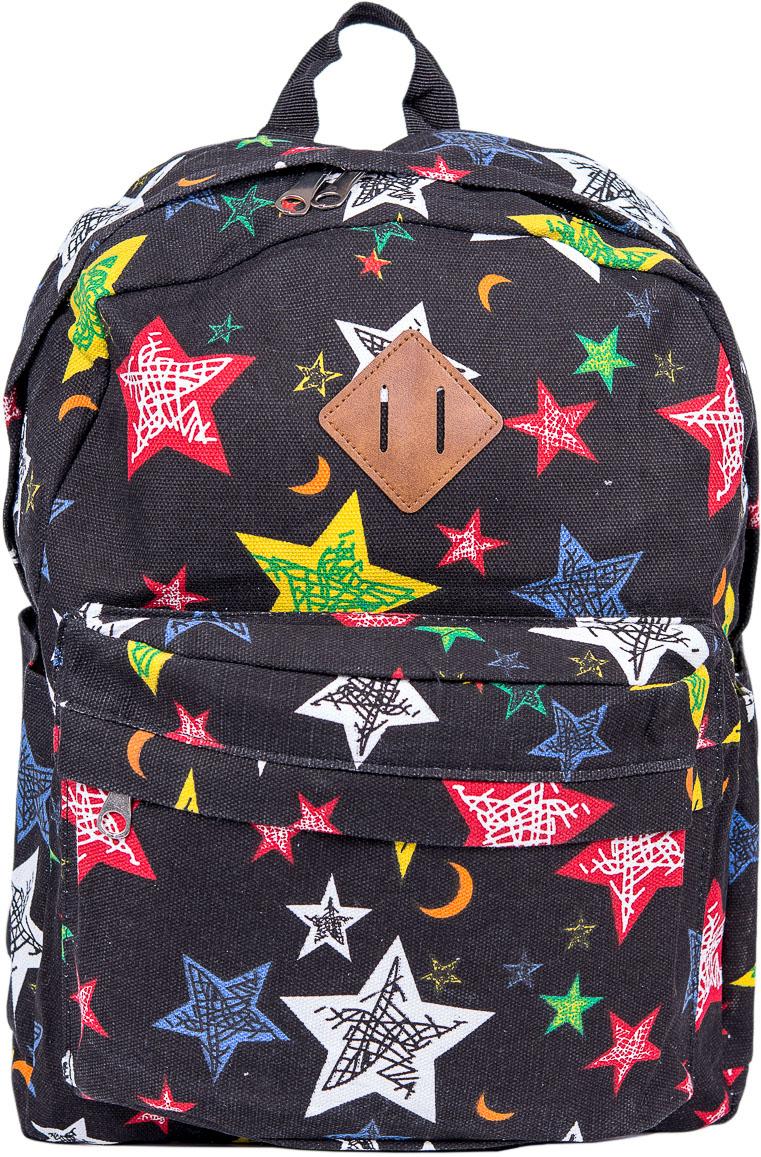 Рюкзак женский Nuages, цвет: черный. NR7115/2blackNR7115/2blackТекстильный рюкзак. Основное отделение на молнии, 1 карман на молнии сзади, 2 боковых кармана, карман на молнии на спинке.