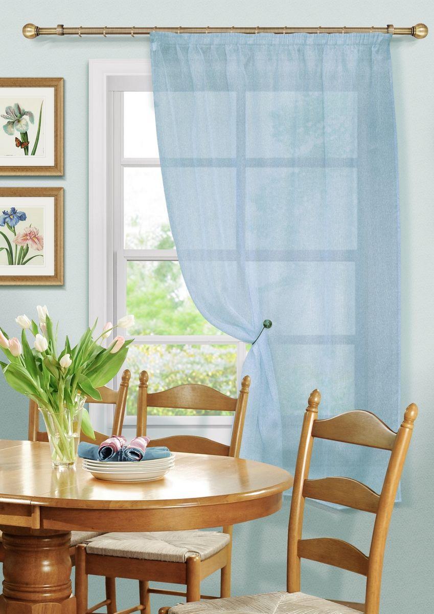 Штора KauffOrt Бисквит, на ленте, цвет: голубой, высота 170 см3111173140Комплектация: 1 Тюль. Материал: Сетка. Состав: 100% Полиэстер. Цвет: голубой. Применение: кухня, дача.