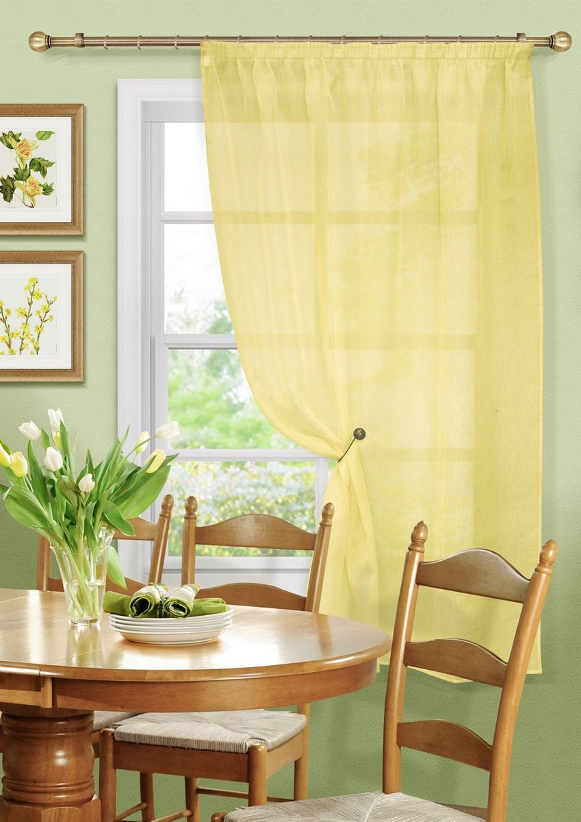Штора KauffOrt Бисквит, на ленте, цвет: желтый, высота 170 см3111173150Комплектация: 1 Тюль. Материал: Сетка. Состав: 100% Полиэстер. Цвет: желтый. Применение: кухня, дача.