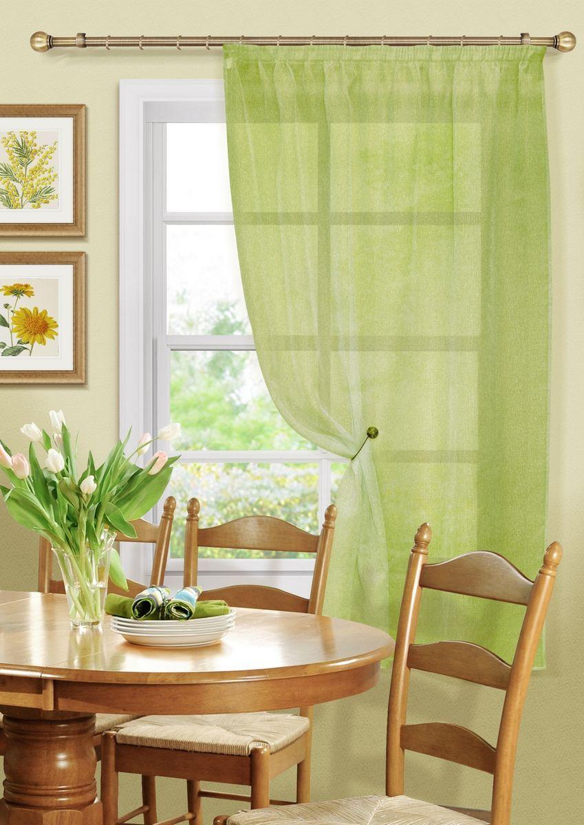 Штора KauffOrt Бисквит, на ленте, цвет: зеленый, высота 170 см3111173185Комплектация: 1 Тюль. Материал: Сетка. Состав: 100% Полиэстер. Цвет: зеленый. Применение: кухня, дача.