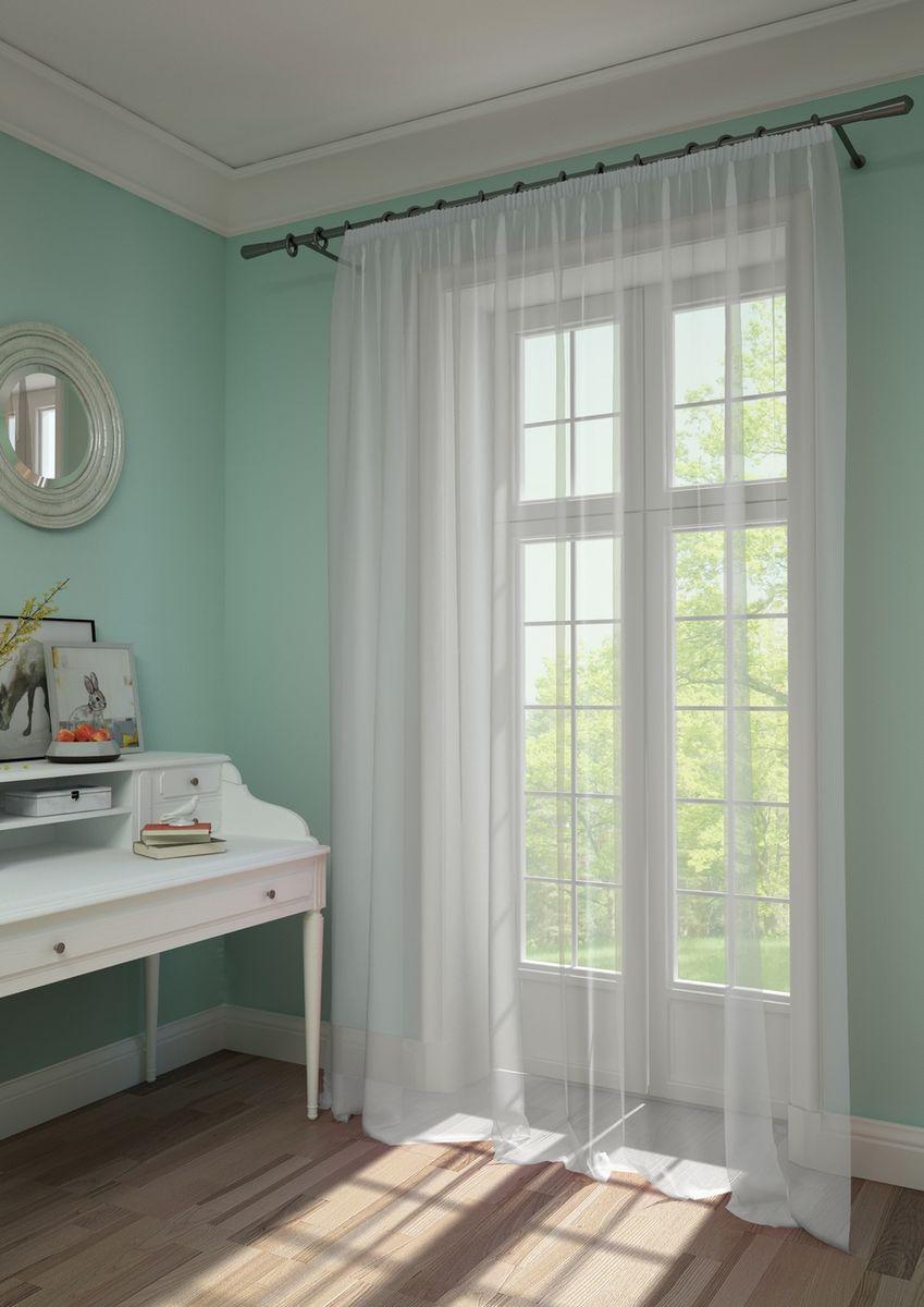 Штора KauffOrt Нелли, на ленте, цвет: белый, высота 285 см3111303110Комплектация: 1 Тюль. Материал: Вуаль. Состав: 100% Полиэстер. Цвет: белый. Применение: гостиная, спальня, дача.