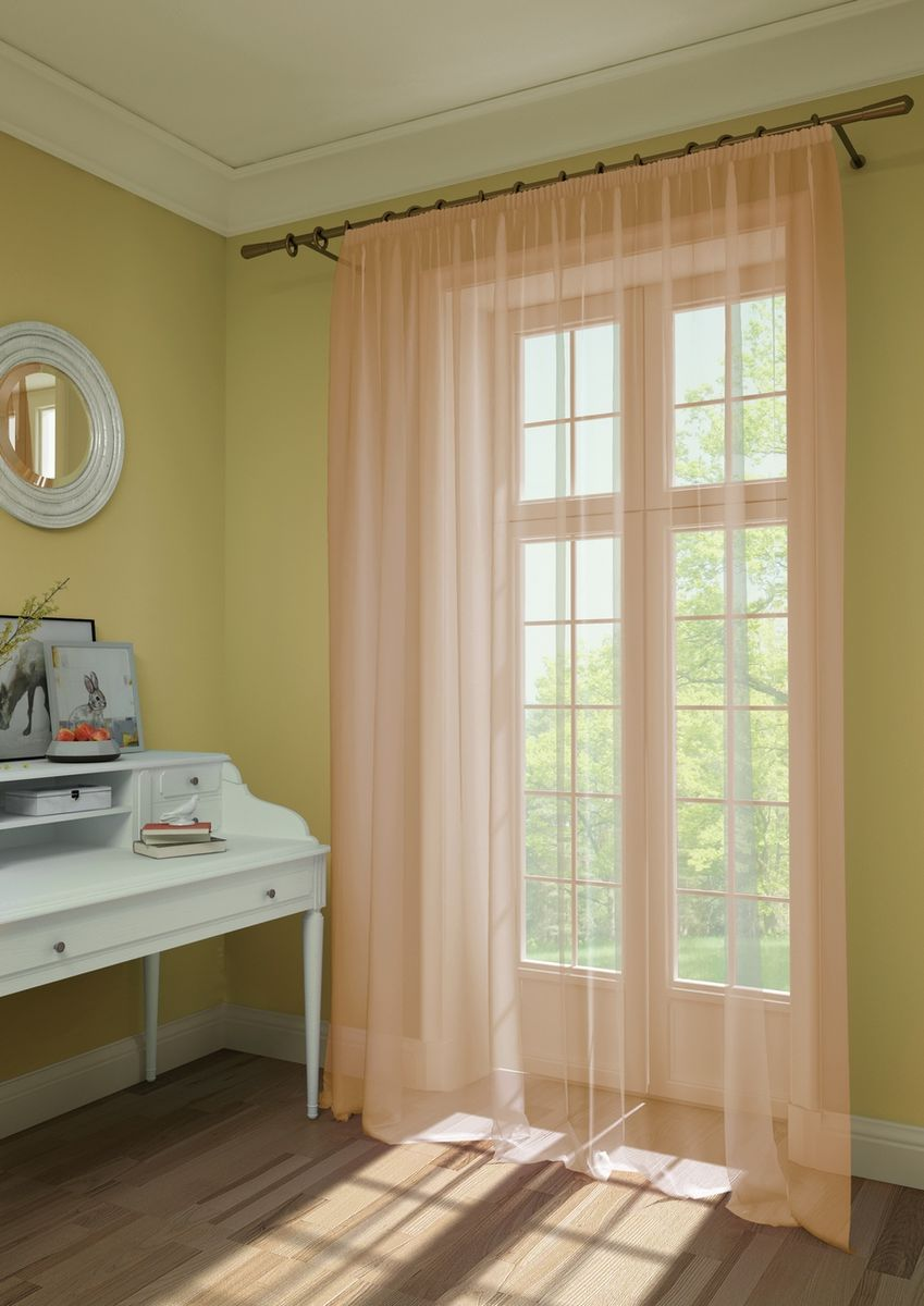 Штора KauffOrt Нелли, на ленте, цвет: оранжевый, высота 285 см3111303156Комплектация: 1 Тюль. Материал: Вуаль. Состав: 100% Полиэстер. Цвет: персиковый. Применение: гостиная, спальня, дача.