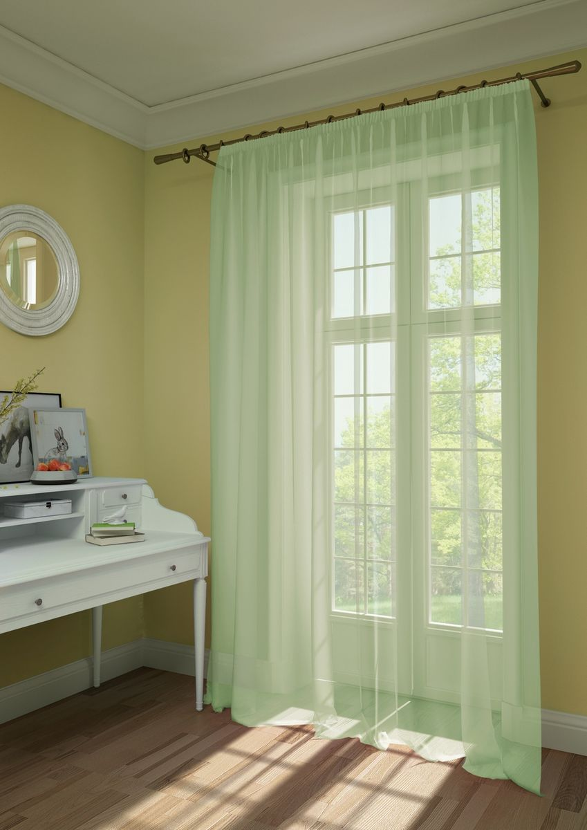 Штора KauffOrt Нелли, на ленте, цвет: светло-зеленый, высота 285 см3111303180Комплектация: 1 Тюль. Материал: Вуаль. Состав: 100% Полиэстер. Цвет: светло-мятный. Применение: гостиная, спальня, дача.
