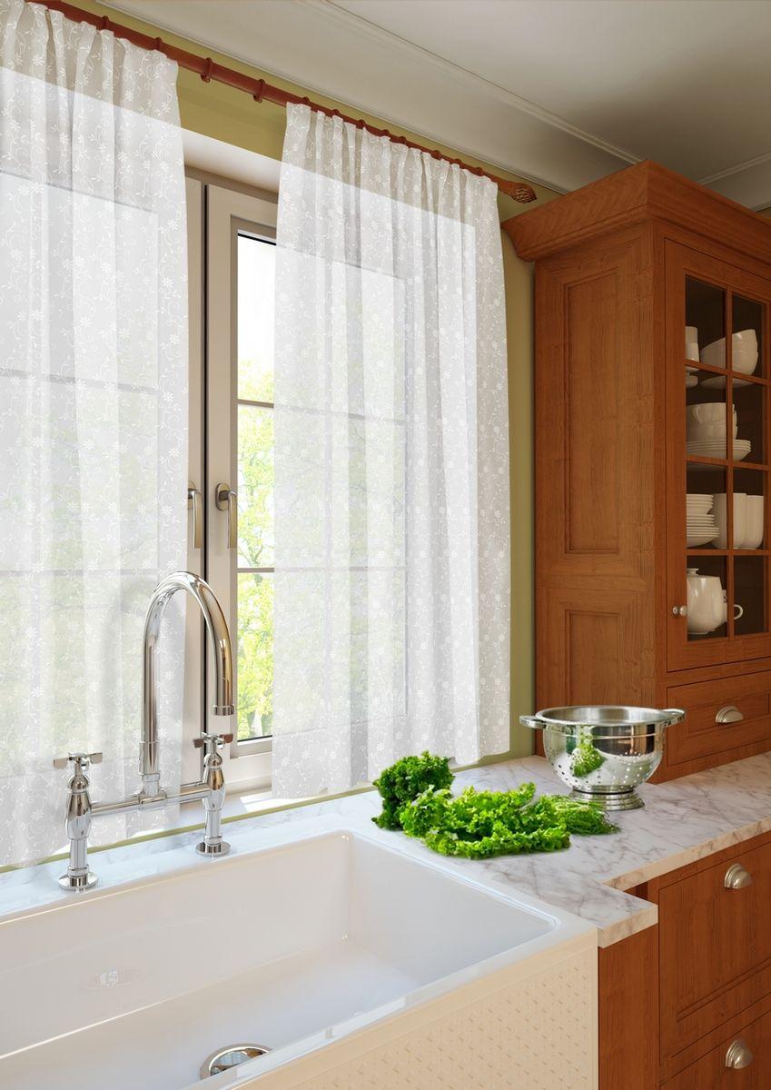 Комплект тюлей KauffOrt Монро, на ленте, цвет: белый, высота 165 см3123232110Комплектация: 2 шторы из кружева. Материал: Кружевная сетка. Состав: 100% Полиэстер. Цвет: белый. Применение: кухня, дача.