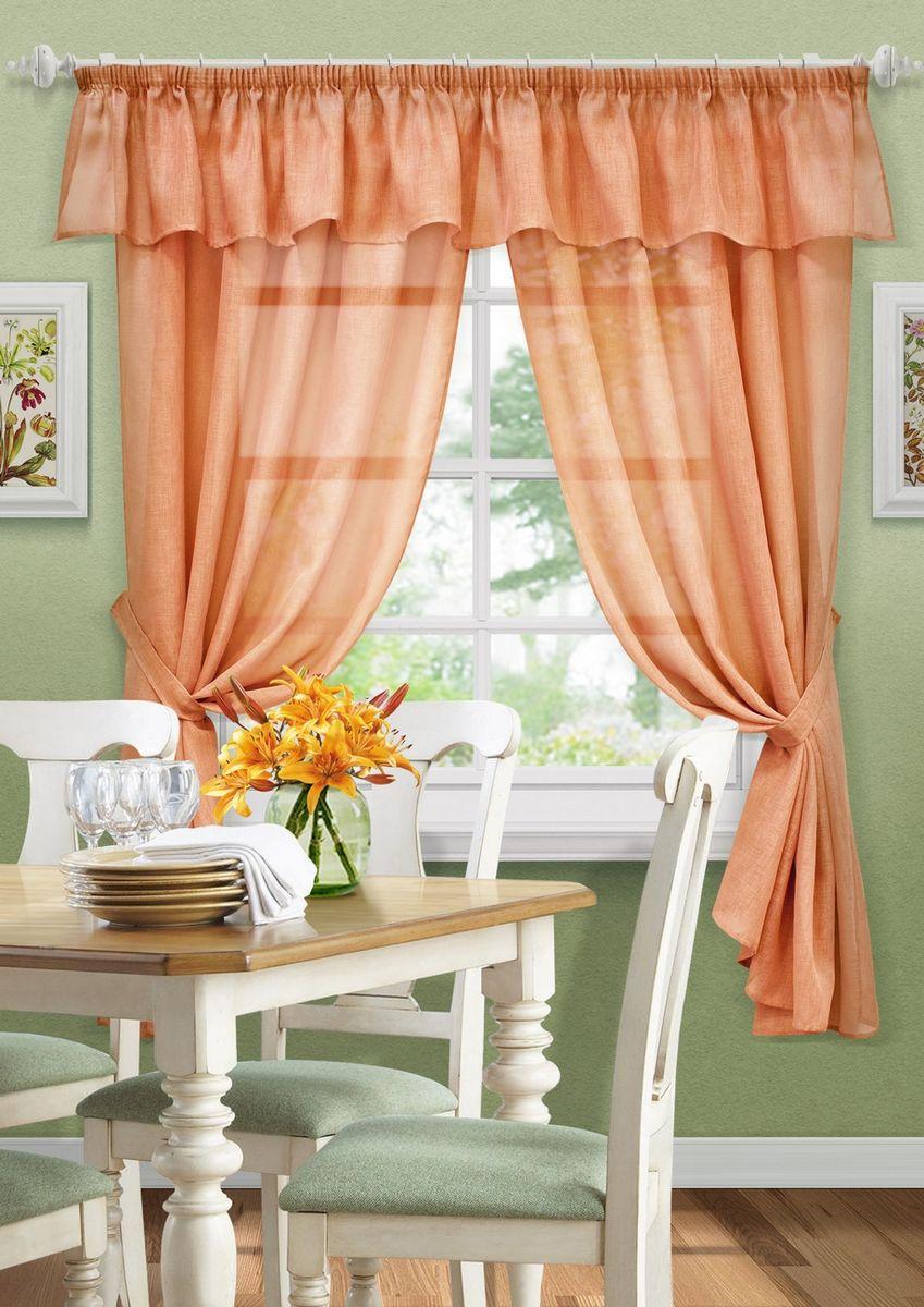 Комплект штор KauffOrt Тина, на ленте, с подхватами, цвет: оранжевый, высота 185 см3123600130Комплектация: 2 Шторы, 2 подхвата, ламбрекен. Материал: Сетка. Состав: 100% Полиэстер. Цвет: оранжевый. Применение: кухня, дача.