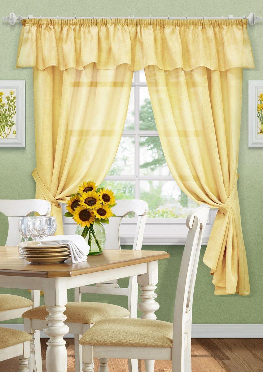 Комплект штор KauffOrt Тина, на ленте, с подхватами, цвет: желтый, высота 185 см3123600150Комплектация: 2 Шторы, 2 подхвата, ламбрекен. Материал: Сетка. Состав: 100% Полиэстер. Цвет: желтый. Применение: кухня, дача.