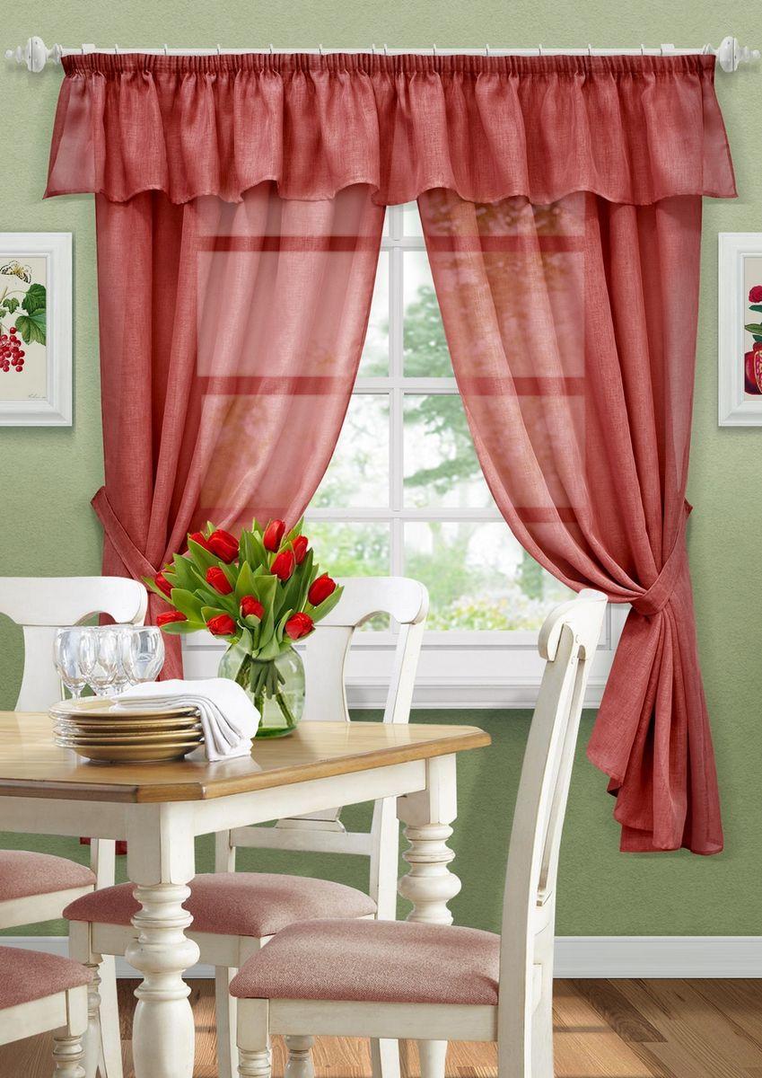 Комплект штор KauffOrt Тина, на ленте, с подхватами, цвет: красный, высота 185 см3123600170Комплектация: 2 Шторы, 2 подхвата, ламбрекен. Материал: Сетка. Состав: 100% Полиэстер. Цвет: бордово/красный. Применение: кухня, дача.