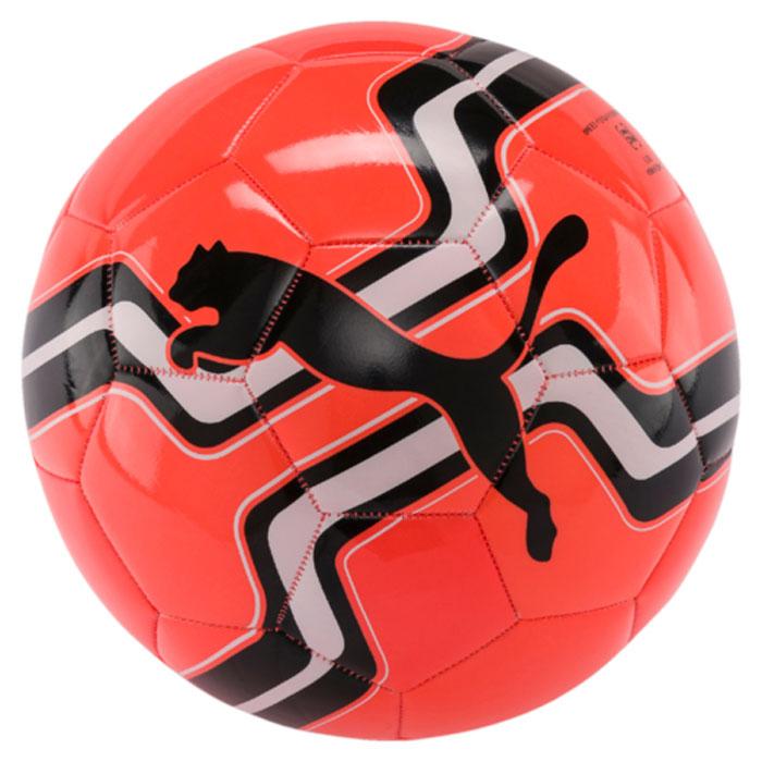 Мяч футбольный Puma Big Cat Ball, цвет: коралловый, черный. 08275807. Размер 508275807Мяч для тренировок начинающих футболистов также подходит для игр с друзьями. Сочетание покрытия из термополиуретана, подложки из вспененного термополиэстера и полиуретана с резиновой камерой, а также надежная машинная прошивка панелей создают такие характеристики мяча, которые обеспечивают удобство приема, сохранение формы, чуткое реагирование на любые действия игрока, предсказуемость отскока, отличные аэродинамические качества.