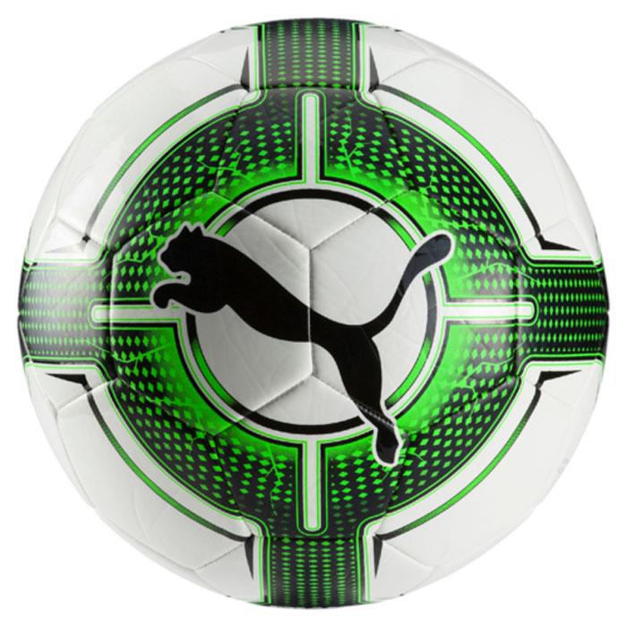 Мяч футбольный Puma Evopower 6.3 Trainer Ms, цвет: белый, зеленый. 08256331. Размер 508256331Футбольный мяч с оптимальным сочетанием цена-качество предназначен для тренировок и игр на любом уровне любительского футбола. Сочетание покрытия из термополиуретана с подложкой из вспененного термопластичного эластомера, подкладки из полиэстера и резиновой камеры, а также надежная машинная прошивка панелей создают такие характеристики мяча, которые обеспечивают удобство приема, сохранение формы, предсказуемость отскока, отличные аэродинамические качества.