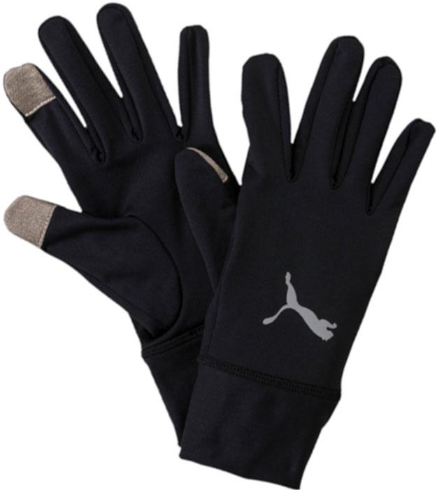 Перчатки для бега Puma Pr Performance Gloves, цвет: черный. 04129401. Размер L (10)04129401Перчатки для бегуна с длинными манжетами, изготовленными из мягкого эластичного материала, имеют оригинальный фасон и множество приспособлений, делающих их идеальным выбором для любителей бега. В левой манжете имеется отверстие для того, чтобы во время бега можно было быстро взглянуть на циферблат/дисплей часов или фитнес-браслета, на ладонной части правой перчатки имеется кармашек для ключей, а большой и указательный пальцы правой перчатки имеют особое покрытие, упрощающее работу с электронными устройствами. Перчатки декорированы набивным логотипом PUMA, выполненными из светоотражающего материала, нанесенным на их тыльную сторону.