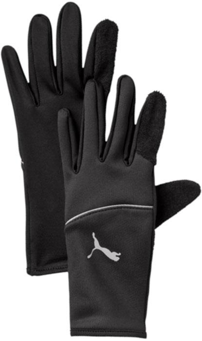 Перчатки для бега Puma Pr Thermo Gloves, цвет: черный. 04126806. Размер S (8)04126806Перчатки из флиса с добавлением лайкры имеют длинные манжеты, надежно закрывающие кисти от холода, махровое ворсовое покрытие в области большого пальца и декорированы полосой и набивным логотипом PUMA, выполненными из светоотражающего материала.