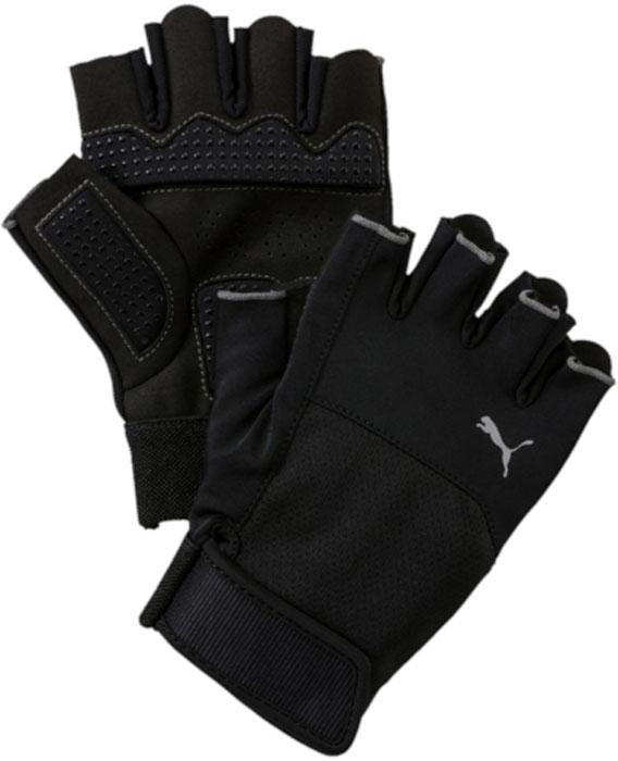 Перчатки для фитнеса Puma Tr Gloves Up, цвет: черный. 04129601. Размер L (10)04129601Мягкая замша и дополнительная подложка на ладони, сгибах пальцев и большом пальце перчаток обеспечивают комфорт и износостойкость, сочетание полиэстера и эластана в качестве основного материала тыльной стороны изделия способствует отличной посадке по руке, а регулируемая застежка на липучке облегчает процесс снимания и надевания перчатки, которая также декорирована логотипом PUMA из светоотражающего материала, нанесенным на тыльную сторону.