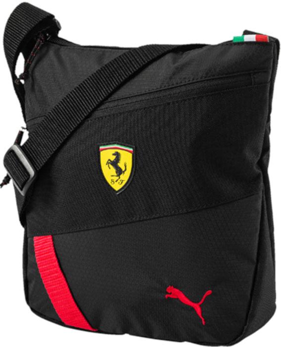 Сумка на плечо Puma Ferrari Fanwear Portable, цвет: черный, 3 л. 0747770207477702Сумка имеет главное отделение на молнии, карман спереди на молнии, карман на молнии с подкладкой внутри и лямку через плечо из плотной тесьмы регулируемой длины. В металлические язычки внешних застежек-молний продернута плотная тесьма. Символика PUMA и Ferrari широко представлена в виде тисненого логотипа винтажной коллекции PUMA на металлических язычках застежек-молний, а также силиконовой эмблемы Ferrari и вышитого логотипа Puma спереди.