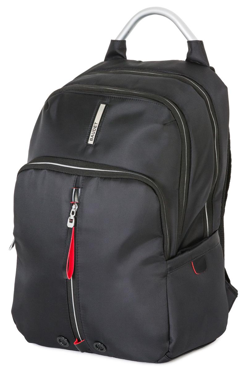 Рюкзак спортивный Baudet, цвет: черный, 20 л4680020303020Рюкзак Baudet выполнен из прочного износостойкого текстиля. Детали: ручка для переноски; регулируемые плечевые ремни; шесть наружных карманов (три из них на молнии и три - без застежки; два объемных отделения с застежкой на двухзамковую молнию; два внутренних кармана, отделение для ноутбука, отделение для планшета; укрепленные лямки; анатомическая спинка.