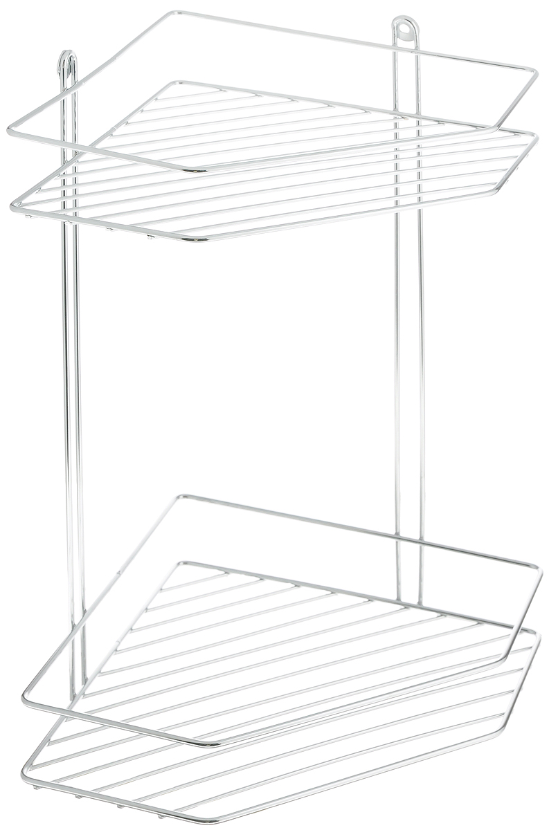 Полка для ванной Swensa, 2-ярусная, угловая, цвет: хром, 21 х 21 х 34 смSWR-012Угловая подвесная полка для ванной Swensa, выполненная из стали и покрытая хромо-никелиевым напылением, является прекрасным решением для организации пространства в ванной комнате. Полка подвешивается с помощью саморезов, которые входят в комплект. Изделие состоит из 2-х полок, которые предназначены для хранения ваших средств гигиены и ухода.Благодаря оптимальным размерам, полка впишется в интерьер вашего дома, а также позволит удобно и практично хранить предметы домашнего обихода.