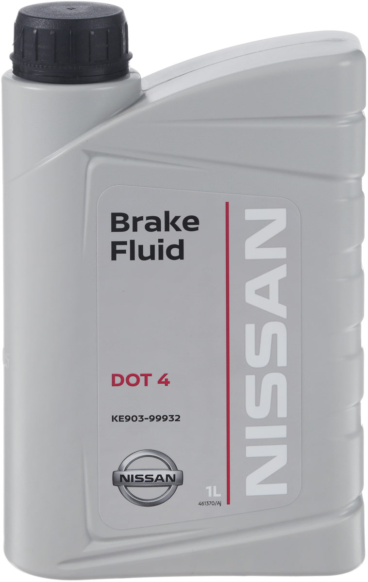 Жидкость тормозная Nissan DOT4, 1 лKE9039-9932Оригинальная тормозная жидкость Nissan DOT4 идеально подходит для всех тормозных систем автомобилей Nissan. Повышенная до 450°С точка кипения и улучшенные эксплуатационные свойства гарантируют что ваша тормозная система справиться с любыми нагрузками даже в экстремальных режимах. Тормозная жидкость может смешиваться с ее аналогами класса DOT-4 без риска возникновения химической реакции. Малая гигроскопичность гарантирует длительный срок службы тормозной жидкости..Товар сертифицирован.Уважаемые клиенты! Обращаем ваше внимание на возможные изменения в дизайне упаковки. Качественные характеристики товара остаются неизменными. Поставка осуществляется в зависимости от наличия на складе.