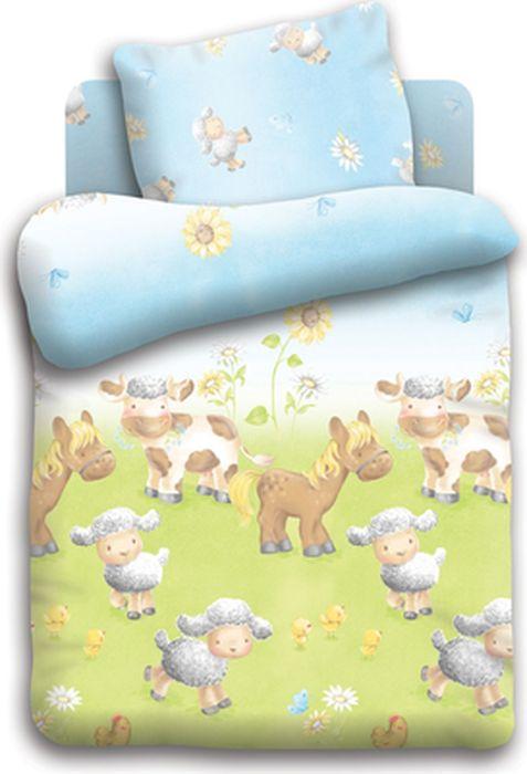 Непоседа Комплект детского постельного белья Овечки на лугу цвет голубой 3 предмета286088