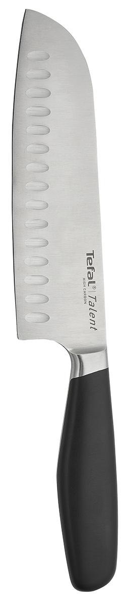 Нож сантоку Tefal Talent, длина лезвия 18 см2100083152Нож сантоку Tefal Talent изготовлен из немецкой высокоуглеродистой нержавеющей стали, которая отличается высокой прочностью. Эргономичная рукоятка, выполненная из прочного пластика черного цвета, не позволяет скользить ножу в руках и обеспечивает безопасность при нарезке продуктов.Нож предназначен для нарезки рыбы, мяса и других жилистых продуктов, также идеально годится для измельчения овощей и фруктов на рагу, суп, салат или другие закуски. Такой нож займет достойное место среди аксессуаров на вашей кухне. Можно мыть в посудомоечной машине.