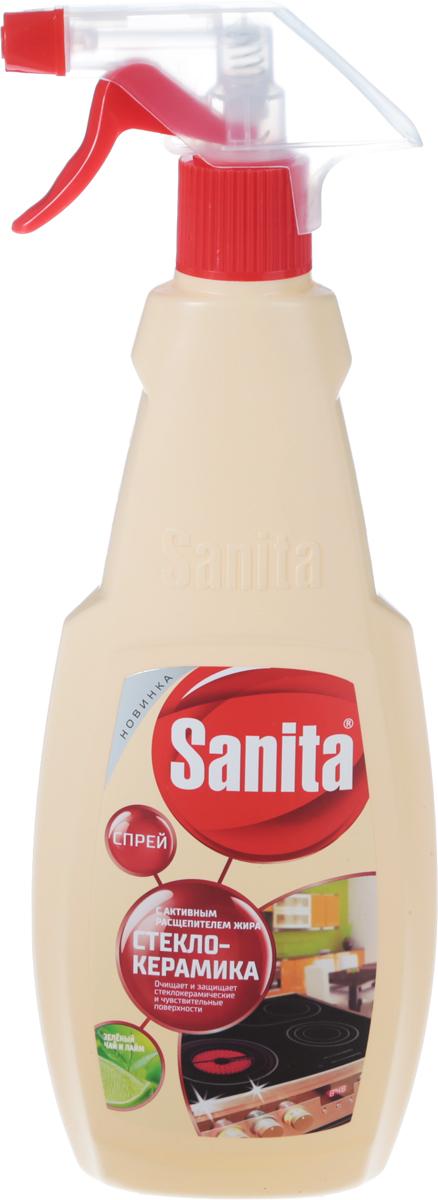 Средство чистящее Sanita Антижир, с ароматом зеленого чая и лайма, 500 мл4602984010394Чистящее средство Sanita Антижир - высокоэффективное средство для бережного очищения деликатных стеклокерамических поверхностей. Спрей легко удаляет жир, нагар и пригоревшие остатки пищи, каждый раз возвращая плиту в ее первозданное состояние. Средство не оставляет разводов после высыхания, придает поверхности чистоту и сияющий блеск. Предназначено для чистки кухонной бытовой техники, микроволновых печей, плит, вытяжек.Товар сертифицирован.