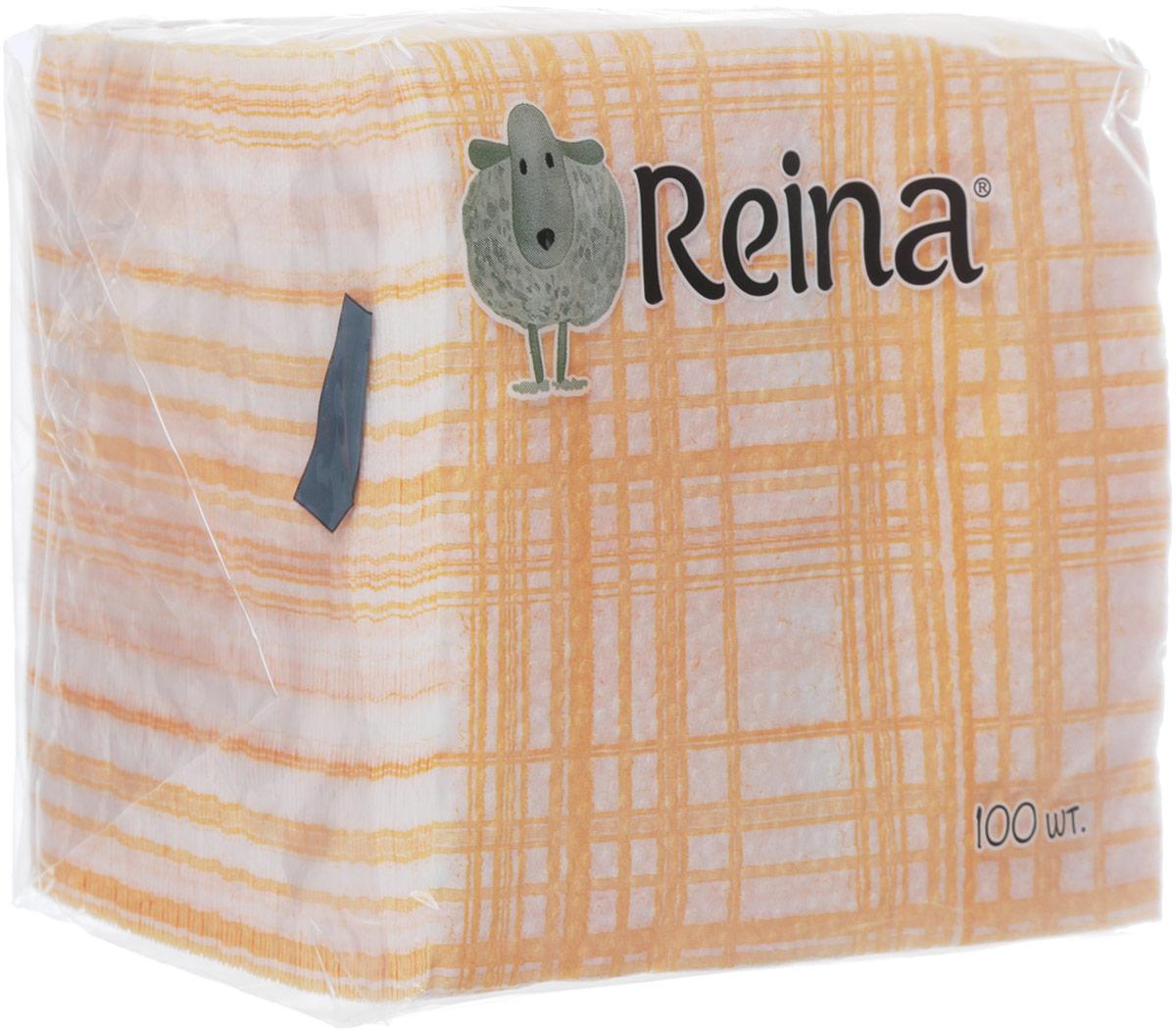 Салфетки бумажные Reina, 1-слойные, цвет: клетка красная, 100 штPUL-000220кк