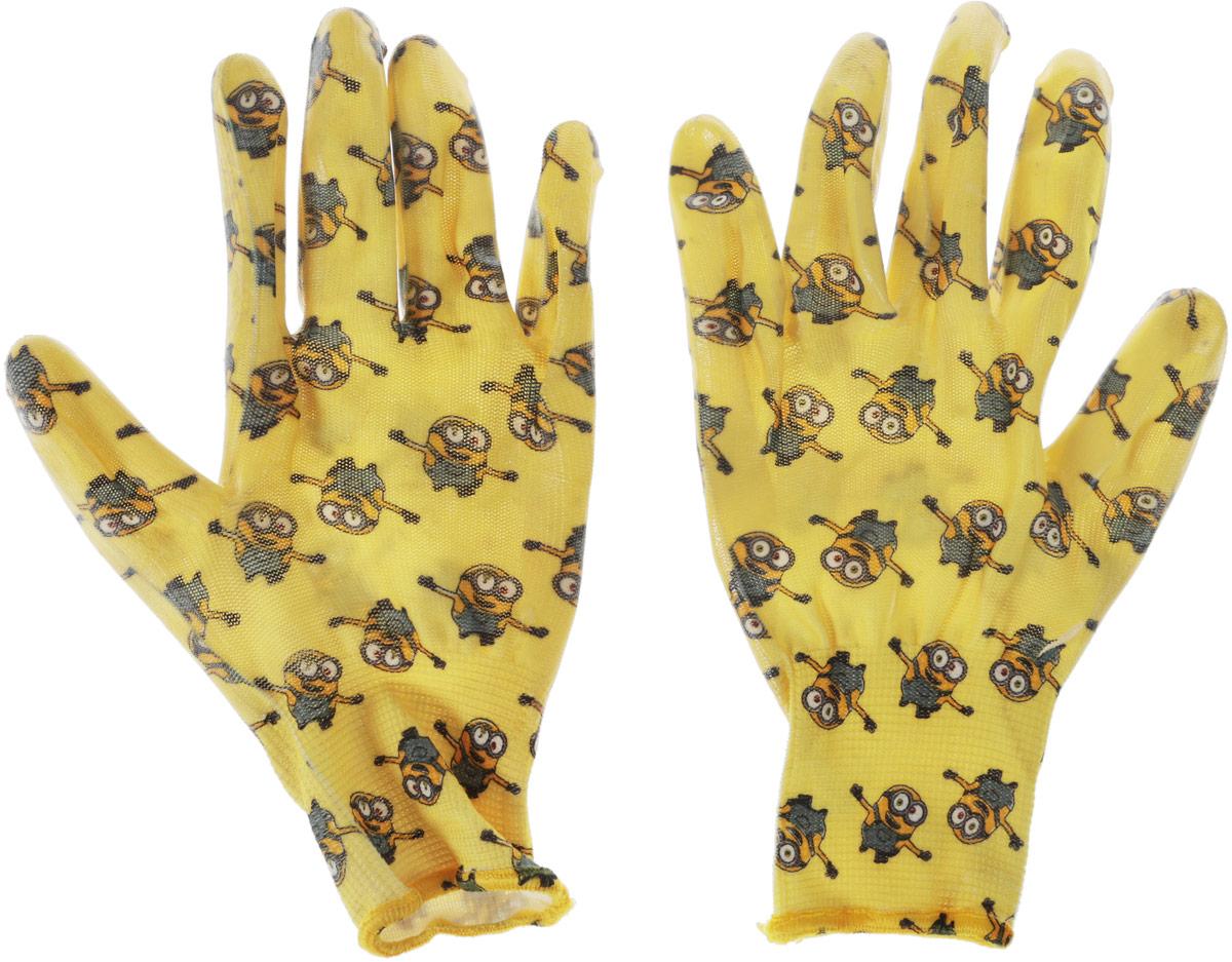 Перчатки садовые Garden Show Миньоны, нейлоновые, с нитриловым покрытием, цвет: желтый. Размер M (9)466324_желтыйПерчатки садовые Garden Show Миньоны выполнены из нейлона с нитриловым покрытием, благодаря чему предметы в руках не скользят. Эластичные манжеты надежно фиксируют перчатки на руке. Такие перчатки защитят руки от влаги, грязи и царапин при выполнении садовых работ. Изделия дополнены красочным изображением миньонов.