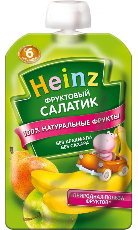 Heinz пюре фруктовый салатик, с 6 месяцев, 100 г пауч76003494Продукт готов к употреблению. Откройте крышку и кормите с ложечки. Более взрослые дети могут употреблять продукт непосредственно из упаковки. Если продукт необходимо разогреть, поместите упаковку в теплую воду. Не разогревать в микроволновой печи.