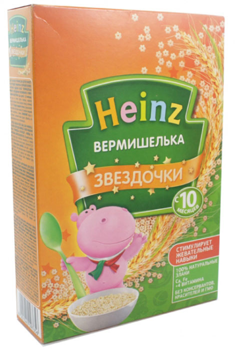 Heinz Вермишелька звездочка, с 10 месяцев, 340 г70149001Для детей старше 10 месяцев добавить 3 столовые ложки макаронных изделий в 250 мл кипящей воды или овощного бульона. Варить в течение 10-15 минут и откинуть на дуршлаг. Готовые макаронные изделия можно добавлять в пюре на мясной или овощной основе, или употреблять как самостоятельное блюдо, добавив растительное или сливочное масло.Продукт содержит глютен.