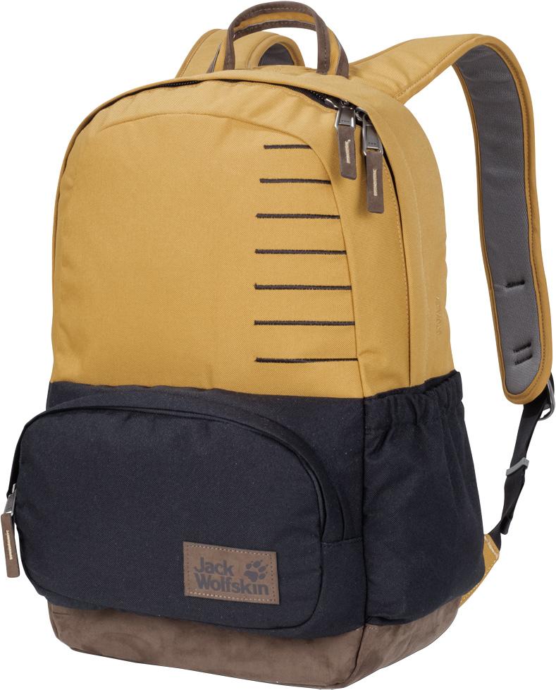 Рюкзак Jack Wolfskin Croxley, цвет: желтый, черный, 22 л. 2004142-52062004142-5206Рюкзак в классическом стиле подходит как для путешествий, так и для ежедневного использования. Фраза классический дизайн наиболее точно описывает стиль нашего городского рюкзака Croxley (Кроксли). В дополнение к вместительному основному отделению и боковому карману, в данной модели также имеется передний карман в классическом стиле. Как и вся остальная линейка серии Seven Dials (Сэвэн Дайэлз), рюкзак Croxley (Кроксли) сшит из износостойкой ткани из переработанных материалов и искусственной замши.
