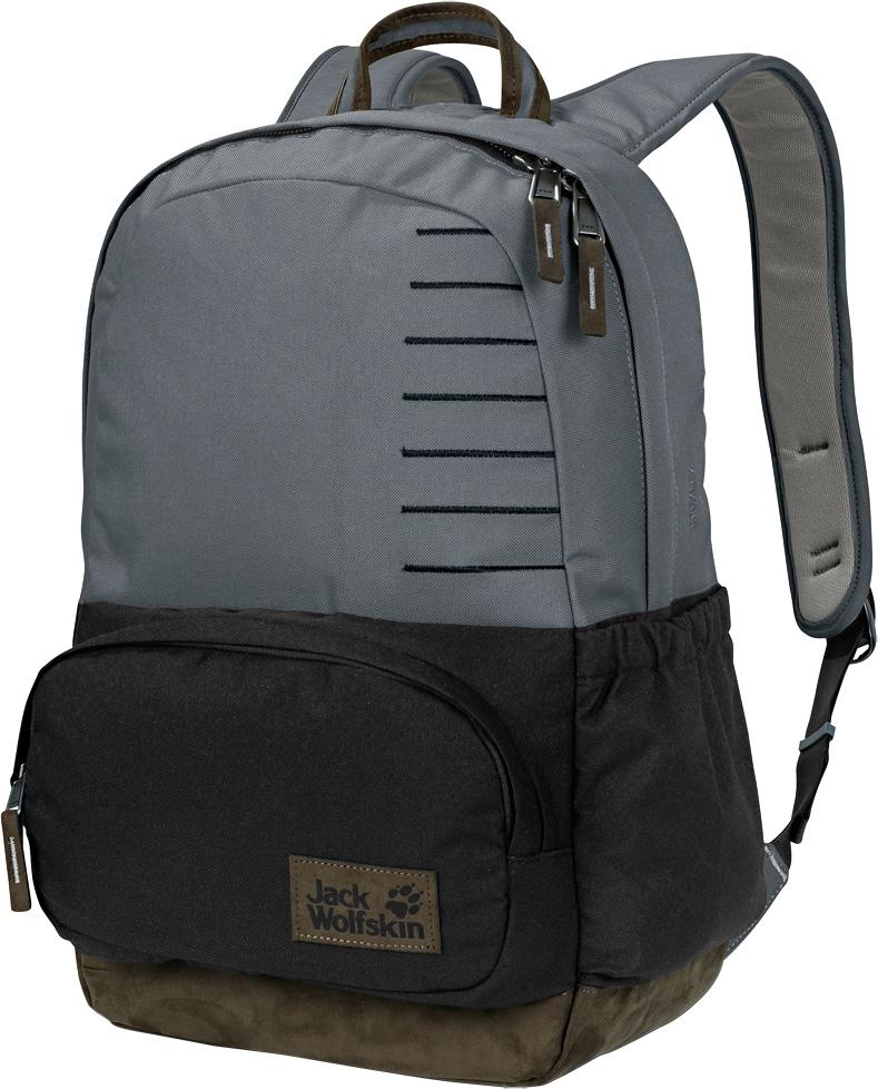 Рюкзак Jack Wolfskin Croxley, цвет: серый, черный, 22 л. 2004142-65062004142-6506Рюкзак в классическом стиле подходит как для путешествий, так и для ежедневного использования. Фраза классический дизайн наиболее точно описывает стиль нашего городского рюкзака Croxley (Кроксли). В дополнение к вместительному основному отделению и боковому карману, в данной модели также имеется передний карман в классическом стиле. Как и вся остальная линейка серии Seven Dials (Сэвэн Дайэлз), рюкзак Croxley (Кроксли) сшит из износостойкой ткани из переработанных материалов и искусственной замши.