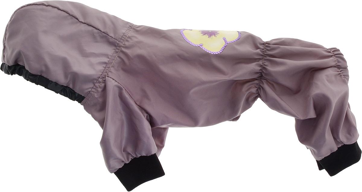 Дождевик прогулочный для собак GLG Цветок, цвет: серо-розовый. Размер SMOS-016Прогулочный дождевик для собак GLG Бабочка выполнен из высококачественного текстиля разной текстуры. Рукава не ограничивают свободу движений, и собачка будет чувствовать себя в ней комфортно. Изделие застегивается с помощью кнопок. br>Изделие оформлено декоративной нашивкой.Модный и невероятно удобный непромокаемый дождевик защитит вашего питомца от дождя и насекомых на улице, согреет дома или на даче.