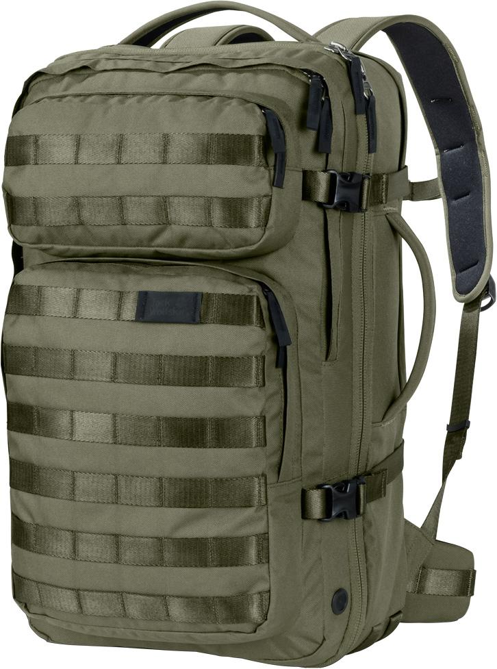 """Рюкзак Jack Wolfskin Trt 32 Pack, цвет: хаки, 32 л. 2001-50522001-5052Прочный дорожный рюкзак с секциями, как у чемодана, и многочисленными креплениями для снаряжения. TRT 32 (ТиАрТи 32) - это многофункциональный суперпрочный гибридный рюкзак с дизайном в стиле хай-тек. Система подвески убирается внутрь, а размеры рюкзака соответствуют габаритным требованиям к ручной клади. Отделения рюкзака структурированы по принципу чемодана на колесах.TRT (ТиАрТи) - прочный, выносливый, технологичный - новая линейка рюкзаков, предназначенных для технарей, которые предпочитают многофункциональные вещи, сделанные на совесть. Отличительной чертой линейки рюкзаков TRT (ТиАрТи) является инновационная система модульных креплений для снаряжения спереди.Модель TRT 32 (ТиАрТи 32) оснащена комфортными лямками, которые можно втянуть внутрь и спрятать за смягчающей подушкой спинки, и двумя ручками, которые позволяют вам носить ее как рюкзак или как сумку - в зависимости от ситуации. Дизайн типа раскладушка, широко раскрывающийся клапан и эластичные петли в основном отделении напоминают классический чемодан. Собираться в дорогу еще никогда не было так просто.В рюкзаке также предусмотрено дополнительное внутреннее отделение с хорошей вентиляцией для грязной одежды. Ближе к спинке есть мягкий карман для вашего ноутбука (15""""), который открывается отдельно специальной молнией. В одном из двух передних отделений имеется мягкая флисовая подкладка для безопасного хранения ваших очков и других хрупких предметов. Еще одна классная деталь - это съемная лента для ключей с открывашкой для бутылки."""