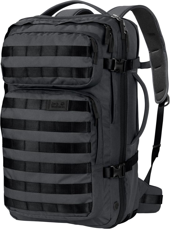 """Рюкзак Jack Wolfskin Trt 32 Pack, цвет: темно-серый, 32 л. 2001-63502001-6350Прочный дорожный рюкзак с секциями, как у чемодана, и многочисленными креплениями для снаряжения. TRT 32 (ТиАрТи 32) - это многофункциональный суперпрочный гибридный рюкзак с дизайном в стиле хай-тек. Система подвески убирается внутрь, а размеры рюкзака соответствуют габаритным требованиям к ручной клади. Отделения рюкзака структурированы по принципу чемодана на колесах.TRT (ТиАрТи) - прочный, выносливый, технологичный - новая линейка рюкзаков, предназначенных для технарей, которые предпочитают многофункциональные вещи, сделанные на совесть. Отличительной чертой линейки рюкзаков TRT (ТиАрТи) является инновационная система модульных креплений для снаряжения спереди.Модель TRT 32 (ТиАрТи 32) оснащена комфортными лямками, которые можно втянуть внутрь и спрятать за смягчающей подушкой спинки, и двумя ручками, которые позволяют вам носить ее как рюкзак или как сумку - в зависимости от ситуации. Дизайн типа раскладушка, широко раскрывающийся клапан и эластичные петли в основном отделении напоминают классический чемодан. Собираться в дорогу еще никогда не было так просто.В рюкзаке также предусмотрено дополнительное внутреннее отделение с хорошей вентиляцией для грязной одежды. Ближе к спинке есть мягкий карман для вашего ноутбука (15""""), который открывается отдельно специальной молнией. В одном из двух передних отделений имеется мягкая флисовая подкладка для безопасного хранения ваших очков и других хрупких предметов. Еще одна классная деталь - это съемная лента для ключей с открывашкой для бутылки."""