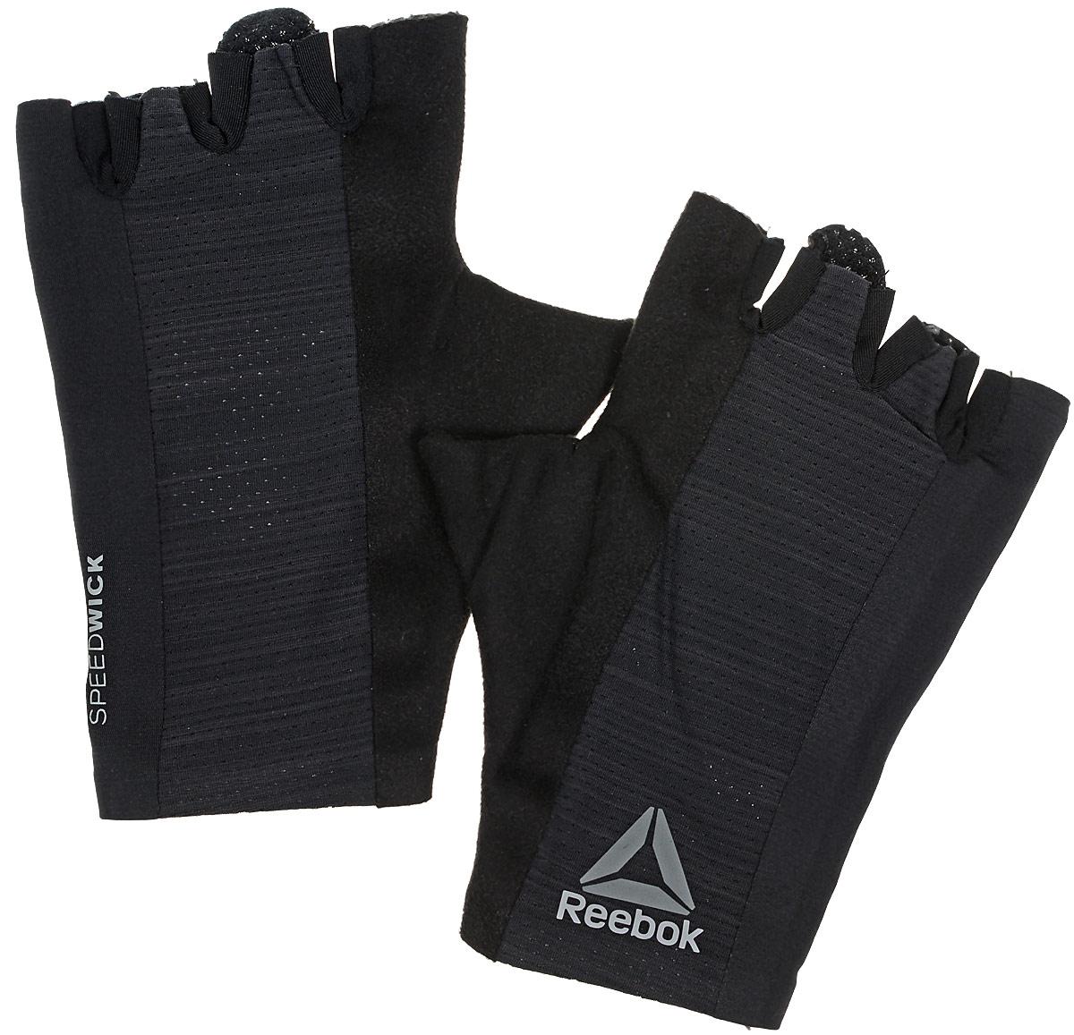 Перчатки для фитнеса Reebok Os U Training Glove, цвет: черный. BK6288. Размер M (20)BK6288Защити свои руки во время самой интенсивной тренировки. Подкладка с внутренней стороны ладони защитит от натирания и обеспечит уверенный хват. А благодаря системе быстрой вентиляции ты будешь ощущать сухость, независимо от нагрузки. Перчатки очень легко снимаются - на кончиках пальцах есть специальные петельки.Материал: 88% нейлон и 12% эластан, сетчатый материал для вентиляции и комфорта.Специальные ярлычки для удобного снимания.Силиконовые вставки на ладонях для амортизации и защиты.Сетчатые вставки для вентиляции и отвода влаги.Вставка из микрофибровой замши для комфорта и удаления влаги.