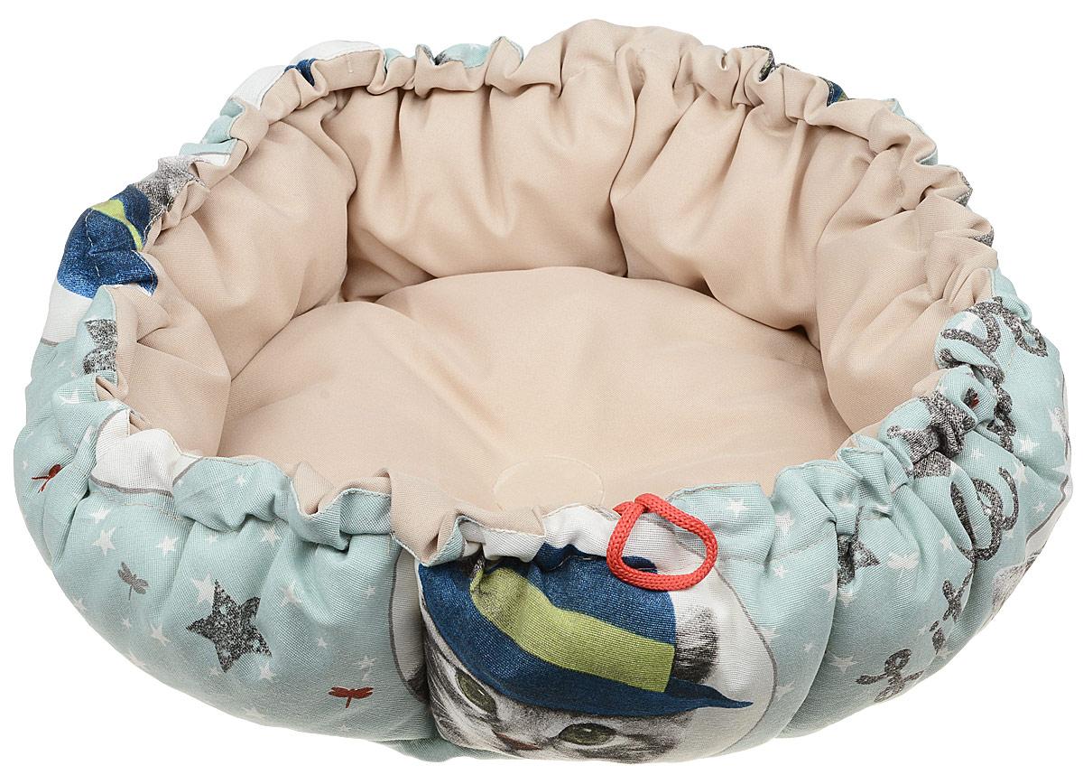 Лежак GLG Кувшинка, для кошек и собак, цвет: голубой, бежевый, 65 смL009_голубой, бежевыйЛежак для собак GLG Кувшинка обязательно понравится вашему питомцу. Он выполнен из качественного сочетания хлопка с полиэстером и дополнен набивкой из поролона. Материал не теряет своей формы долгое время. Края лежака дополнены внутренним утягивающим шнурком. Мягкий лежак станет излюбленным местом вашего питомца, подарит ему спокойный и комфортный сон, а также убережет вашу мебель от шерсти.Размер: 65 см.