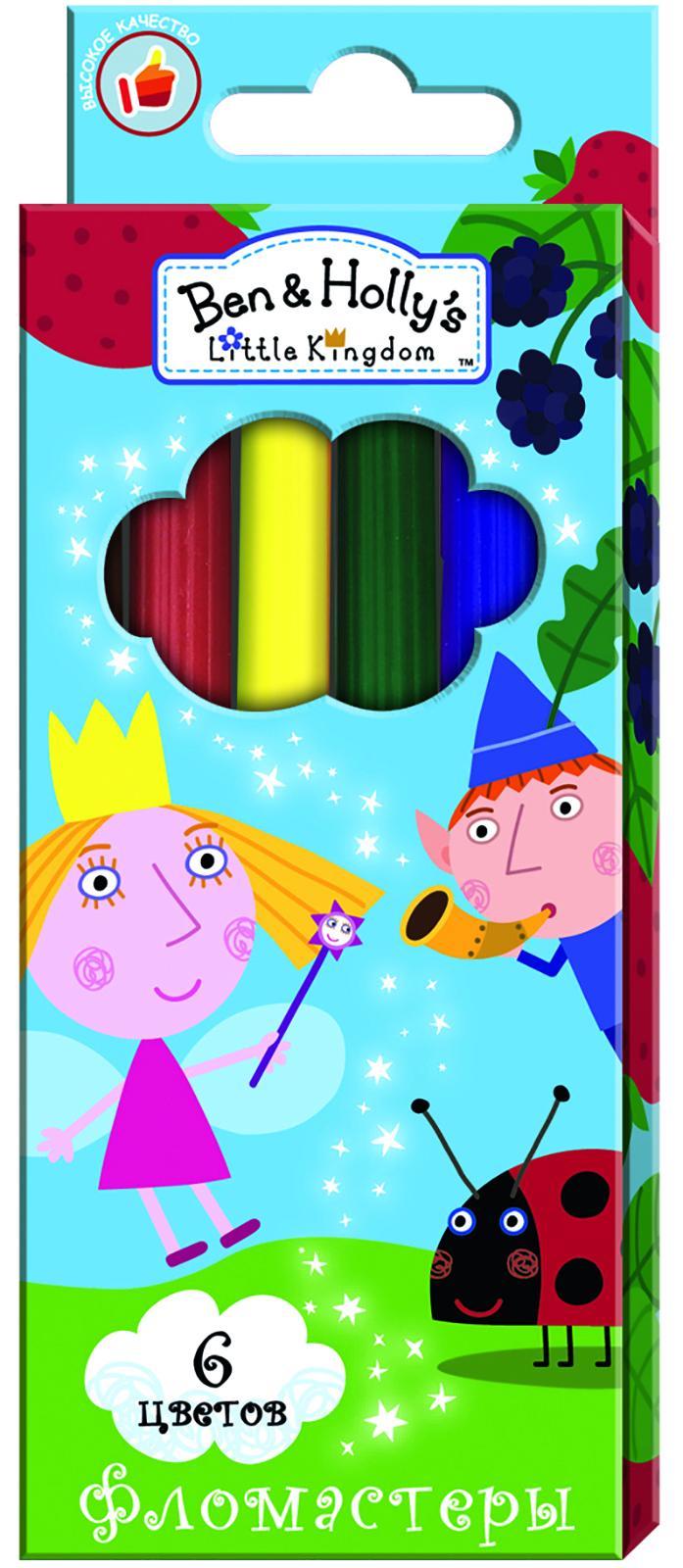 Ben&Holly Набор фломастеров Бен и Холли 6 цветов31693Фломастеры ТМ Бен и Холли, идеально подходящие для рисования и раскрашивания, помогут вашему ребенку создавать яркие картинки, а упаковка с любимыми героями будет долгое время радовать юного художника. В набор входит 6 разноцветных фломастеров с вентилируемыми колпачками, безопасными для детей.Диаметр корпуса: 0,8 см; длина: 13,5 см.Фломастеры изготовлены из материала, обеспечивающего прочность корпуса и препятствующего испарению чернил, благодаря этому они имеют гарантированно долгий срок службы: корпус не ломается, даже если согнуть фломастер пополам.Состав: ПВХ, пластик, чернила на водной основе.