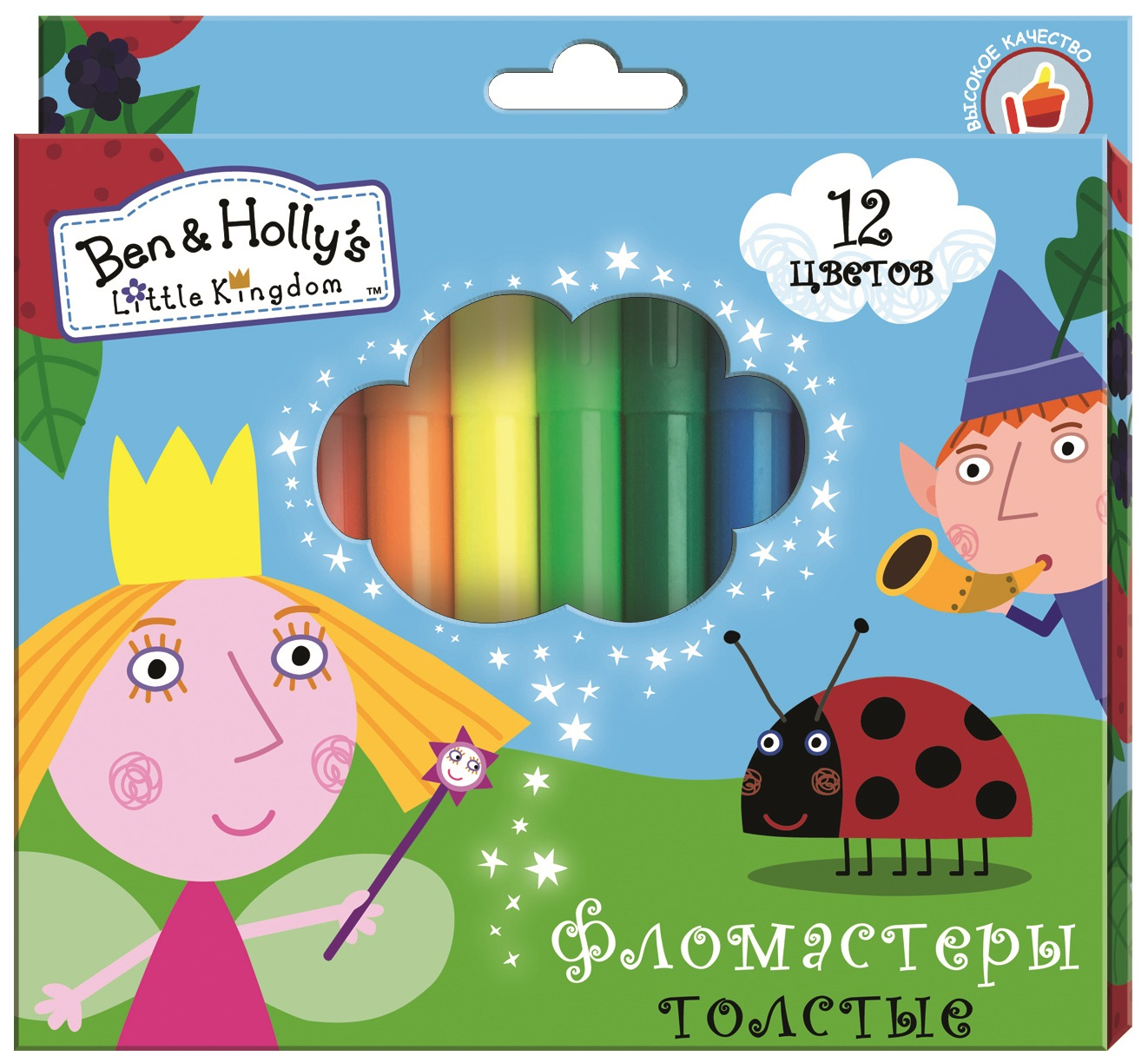 Ben&Holly Набор фломастеров Бен и Холли толстые 12 цветов -  Фломастеры