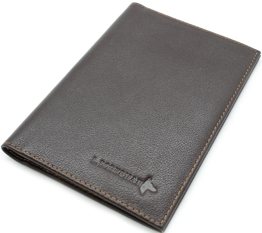Обложка на паспорт мужская L.Doberman, цвет: черный. LD 7710-090 - Обложки для паспорта