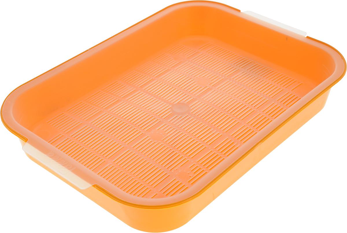 Туалет для кошек Гамма, с сеткой, цвет: оранжевый, 40 х 28 х 6 смПГ-08100_оранжевыйТуалет для кошек Гамма изготовлен из прочного пластика и снабжен специальной съемной сеткой. Кошачий туалет с сеткой предпочитают многие любители домашних кошек, благодаря тому, что его можно использовать без наполнителя. Сетка расположена выше дна, и лапки вашей кошки останутся сухими. Если вы все же хотите использовать наполнители, то для данного типа туалетов не рекомендуется комкующийся бентонит, так как он может налипнуть на сетку, и отчистить ее будет сложно.
