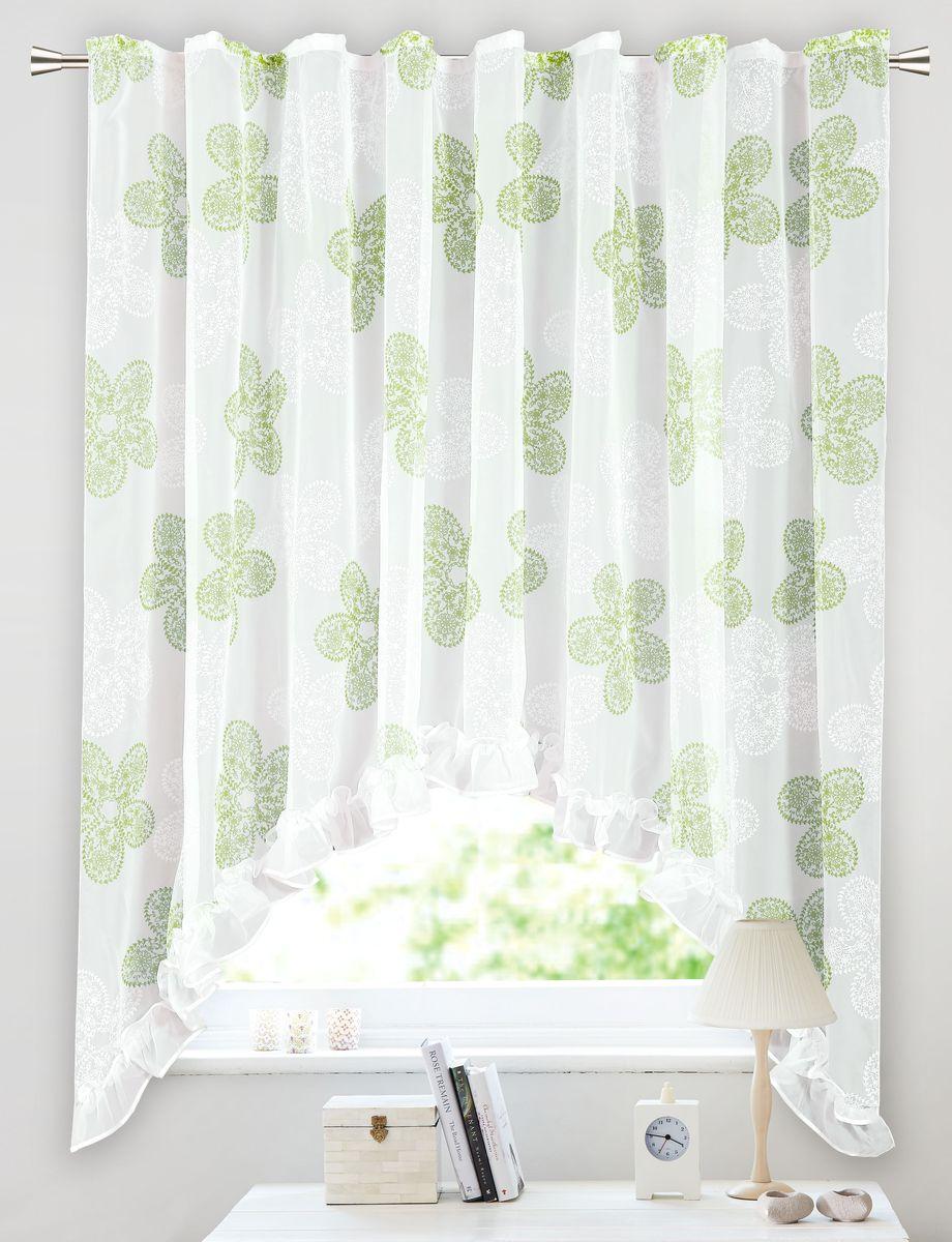 Арка Garden, на ленте, с рюшей, цвет: белый, высота 180 см. С 2287-W191 V18C2287W191V18Штора для кухни, выполнена из ткани вуаль с печатным рисунком. Приятная текстура и цвет штор привлекут к себе внимание и органично впишутся в интерьер помещения. Штора крепится на карниз при помощи ленты, которая поможет красиво и равномерно задрапировать верх.