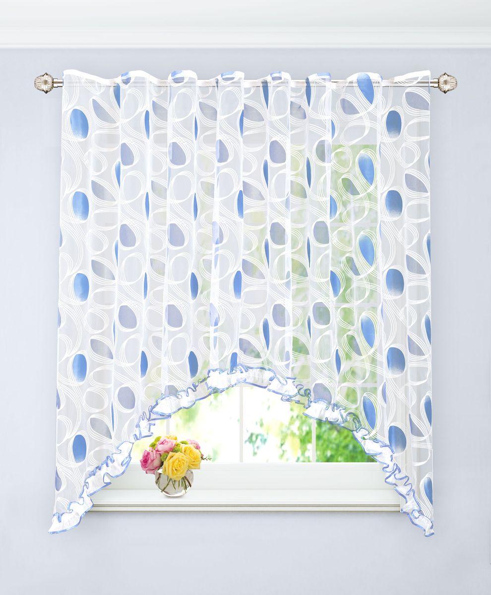 Арка Garden, на ленте, с рюшей, цвет: синий, высота 180 см. С 4355-W260 V23С 4355 - W260 V23Штора для кухни, выполнена из органзы с рисунком. Приятная текстура и цвет штор привлекут к себе внимание и органично впишутся в интерьер помещения. Штора крепится на карниз при помощи ленты, которая поможет красиво и равномерно задрапировать верх.