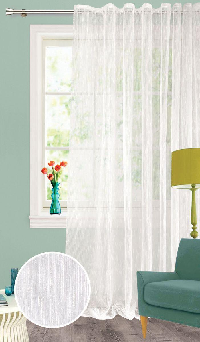 Штора Garden, на ленте, цвет: белый, высота 260 см. С 537651 V1C537651V1Изящная тюлевая штора из органзы белого цвета. Тонкая, прозрачная ткань, хорошо драпирующиеся, оснащена шторной лентой.